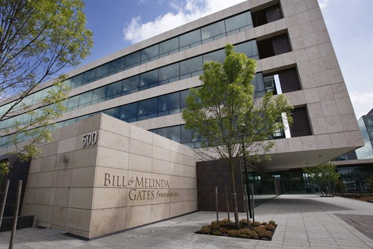 The entry plaza of the Bill & Melinda Gates Foundation, one of the largest global NGOs.