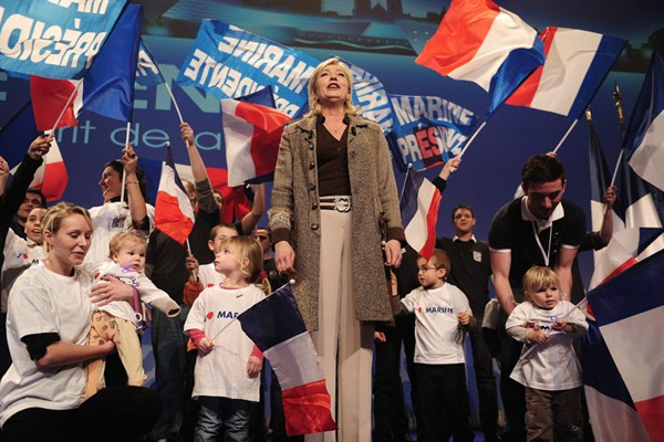 France's far-right presidential candidate and National Front party president Marine Le Pen attends a political rally.