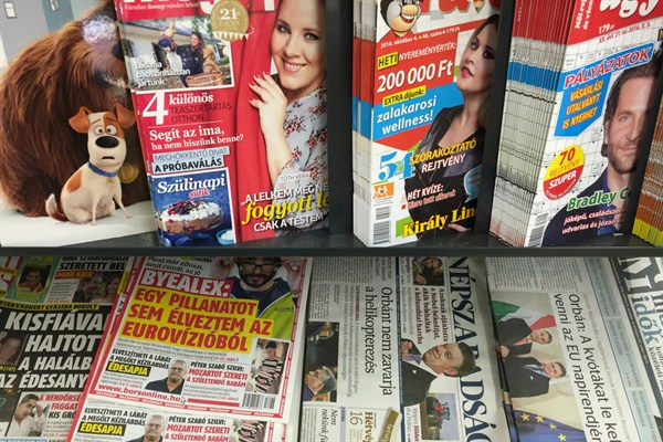 A newsstand displays Saturday papers including Nepszabadsag daily, Budapest, Hungary, Oct. 8, 2016.
