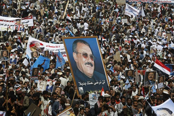 Supporter of former Yemen President Saleh at a rally in Sanaa.