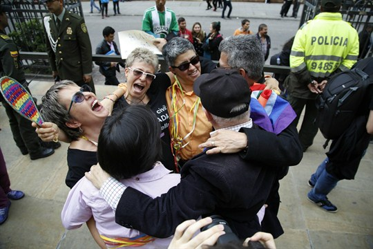 Activists for LGBT rights in Latin America celebrate Colombia's decision in favor of same-sex marriage.