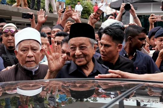 Newly elected Malaysian Prime Minister Mahathir Mohamad after Friday prayers in Kuala Lumpur.