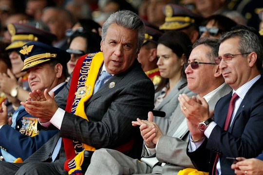 Ecuador's president, Lenin Moreno, attends a military ceremony in Quito marking Independence Day.