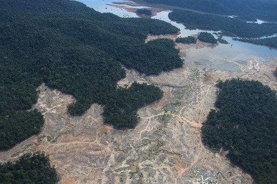 An aerial shot of deforestation in the Amazon near the Juruena National Park in Brazil.