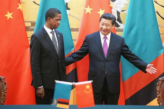 Chinese President Xi Jinping and Zambian President Edgar Lungu at the Great Hall of the People.
