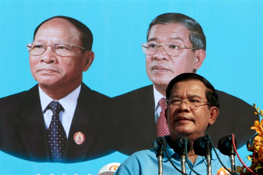 Cambodia's Prime Minister Hun Sen delivers a speech to supporters.