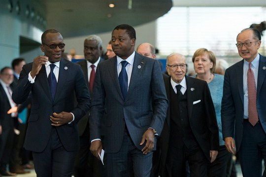 Togo President Faure Gnassingbe with other heads of state and government in Berlin.