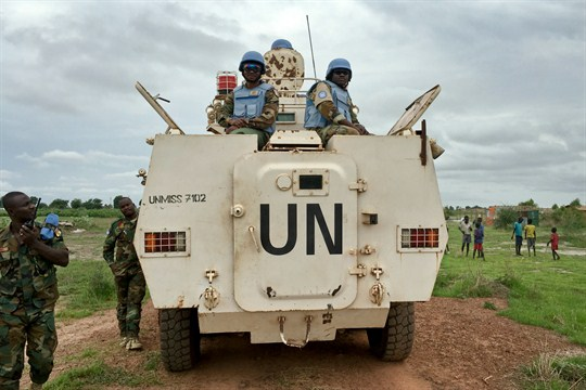 U.N. Peacekeepers atop an armored vehicle in South Sudan.