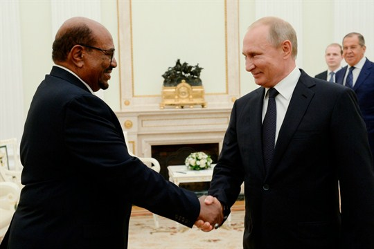 With Russian activity in Sudan increasing, Vladimir Putin and Omar al-Bashir meet in Moscow.