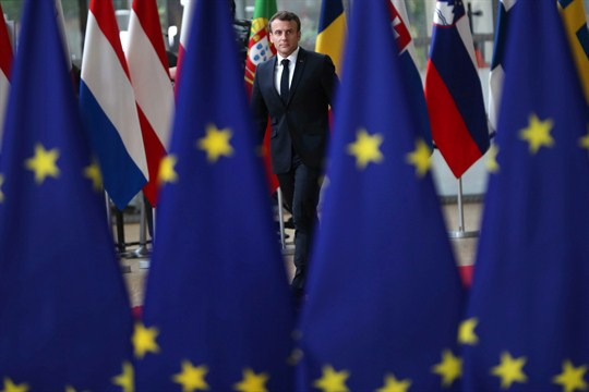 French President Emmanuel Macron arrives for an EU summit in Brussels, May 28, 2019.