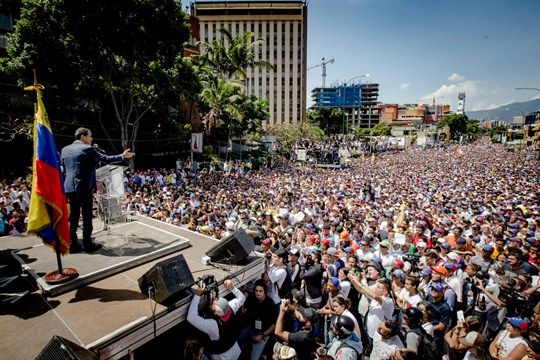 Venezuelan opposition leader Juan Guaido addresses supporters at a rally in Caracas, Venezuela.