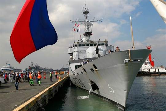 The French Navy ship Vendemiaire, docked for a five-day port call in Manila, Philippines.