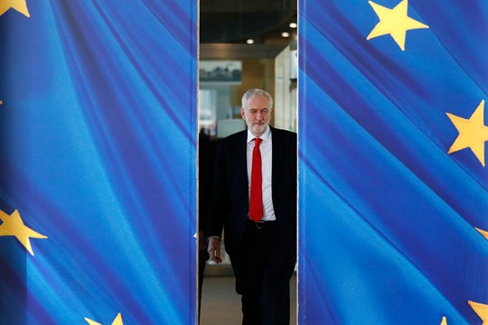 British Labour Party leader Jeremy Corbyn leaves EU headquarters in Brussels.