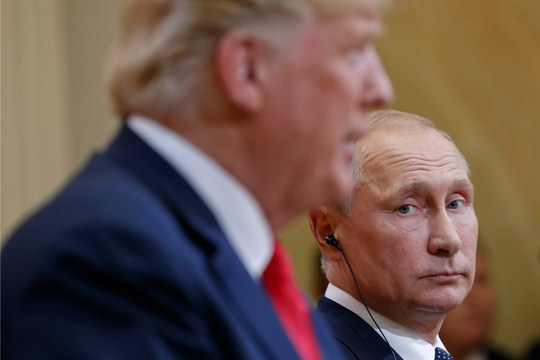 Russian President Vladimir Putin and U.S. President Donald Trump at a joint news conference in Helsinki.