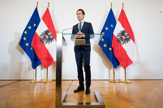 Then-Chancellor Sebastian Kurz during a news conference in Vienna.