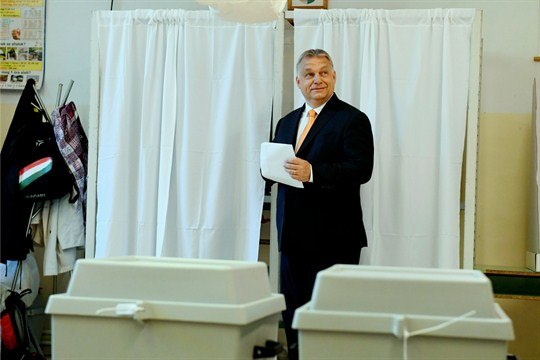 Hungarian Prime Minister Viktor Orban at a polling station for the European election, Budapest.