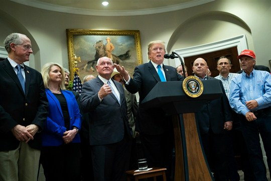 President Donald Trump delivers remarks on supporting American farmers at the White House.
