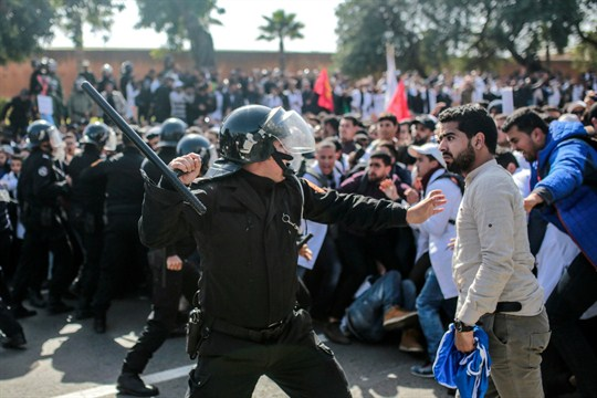 Security forces charge at protesting teachers during a demonstration in Rabat, Morocco.