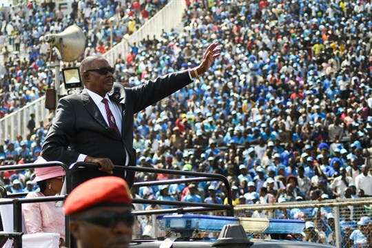 Malawi's president, Peter Mutharika, greets supporters during his inauguration ceremony at Kamuzu Stadium in Blantyre, Malawi.