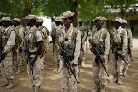 Chadian troops participate in the closing ceremony of operation Flintlock in an army base in N'djamena.
