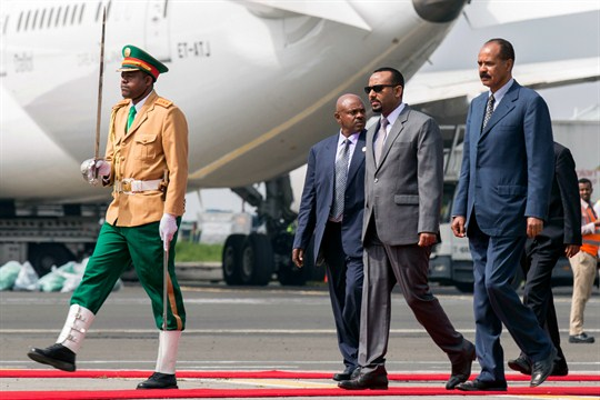 Eritrean President Isaias Afwerki is welcomed by Ethiopian Prime Minister Abiy Ahmed, in Addis Ababa, Ethiopia