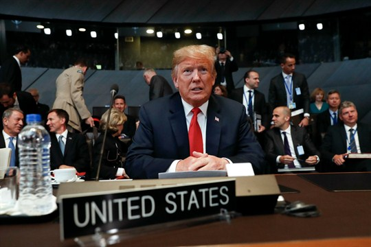 U.S. President Donald Trump attends the multilateral meeting of the North Atlantic Council in Brussels.