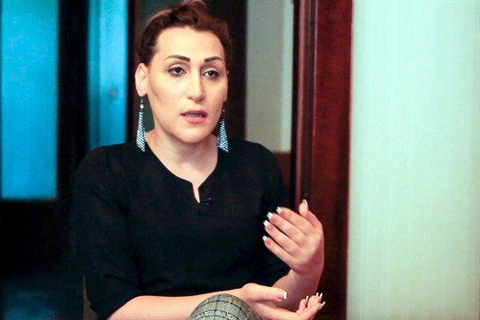 Lilit Martirosian, a founder of the Armenian transgender organization Right Side, during an interview in Yerevan.