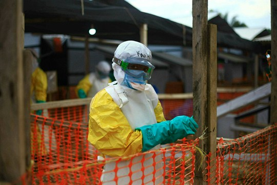 An Ebola health worker at a treatment center in Beni, Democratic Republic of Congo.