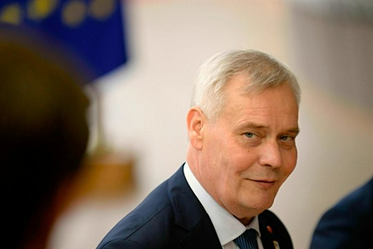 Finnish Prime Minister Antti Rinne speaks to journalists prior to an EU summit in Brussels.