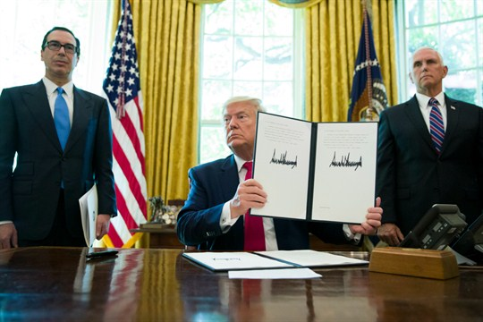 President Donald Trump in the Oval Office with a signed executive order to increase Iran sanctions.