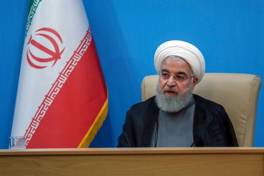Iranian President Hassan Rouhani attends a meeting with Health Ministry officials, in Tehran.