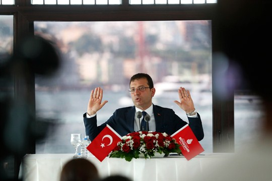 Ekrem Imamoglu, the new mayor of Istanbul, at a press conference.