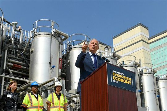 Jay Inslee, Washington governor and Democratic presidential candidate, unveiling part of climate change plan.