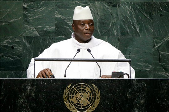 Gambia's former president, Yahya Jammeh, addresses the 69th session of the United Nations General Assembly.