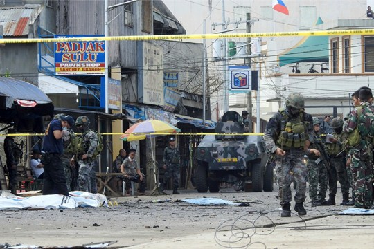 The aftermath of a suicide bombing of a cathedral in Jolo, Sulu's capital in southern Philippines.