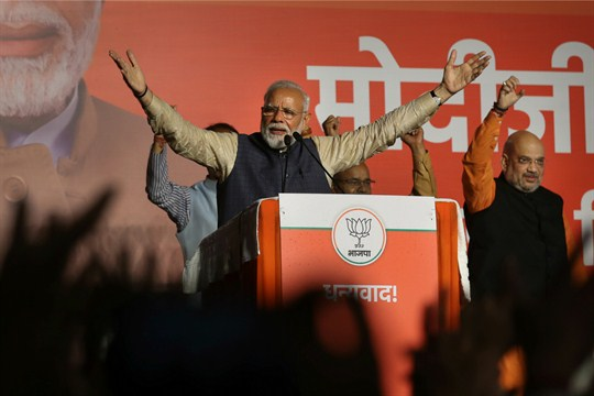 Indian Prime Minister Narendra Modi addresses supporters at Bharatiya Janata Party headquarters, New Delhi, India.
