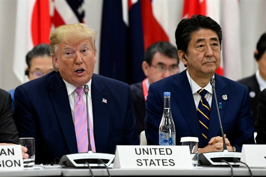 President Donald Trump and Japanese Prime Minister Shinzo Abe during a session at the G-20 summit.