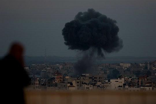 Smoke rises from an explosion after an Israeli airstrike in Gaza City.