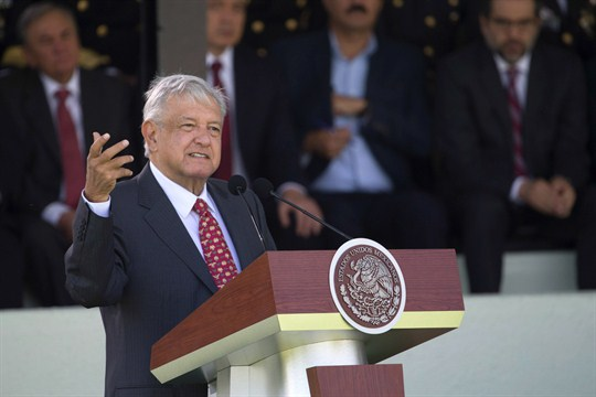 Mexican President Andres Manuel Lopez Obrador addresses National Guard soldiers in Mexico City.