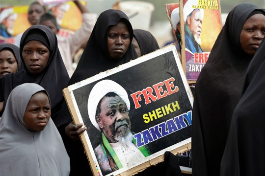 Nigerian Shiite Muslims protest and demand the release of Ibraheem al-Zakzaky, in Cikatsere, Nigeria.
