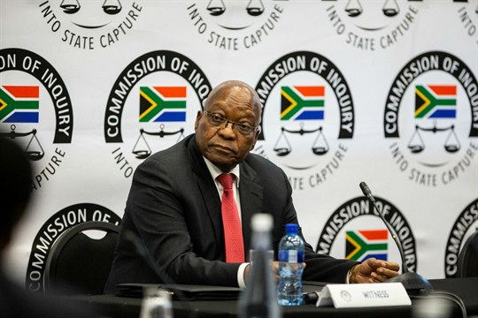 Former South African President Jacob Zuma testifies at the Zondo anti-corruption commission in Johannesburg