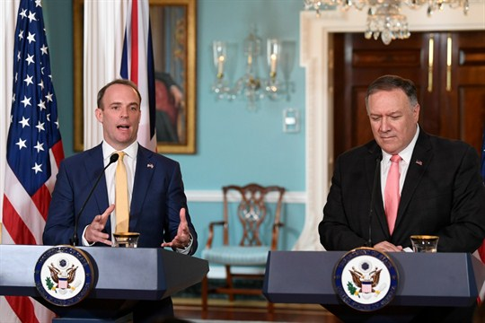 U.S. Secretary of State Mike Pompeo and British Foreign Secretary Dominic Raab in Washington.