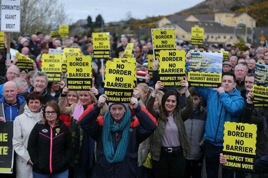Border communities protest Brexit on the northern side of the Irish border between Newry and Dundalk.