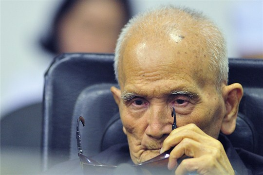 Nuon Chea at a hearing of the U.N.-backed war crimes tribunal in Phnom Penh.