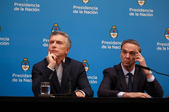 Argentine president Mauricio Macri with his running mate Miguel Angel Pichetto in Buenos Aires, Argentina