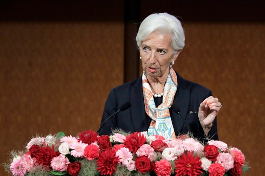 Christine Lagarde speaks at a G-20 seminar in Fukuoka, Japan.