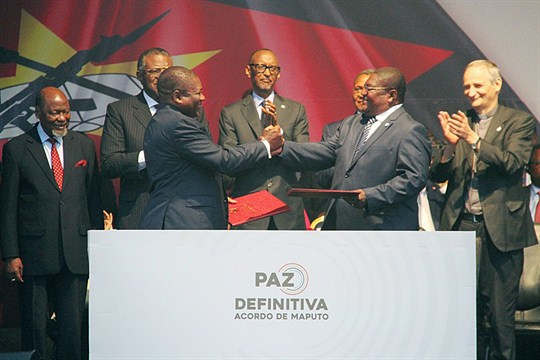 President Filipe Nyusi and Renamo leader Ossufo Momade at a signing ceremony in Maputo, Mozambique.
