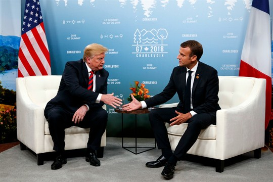 U.S. President Donald Trump with French President Emmanuel Macron at the G-7 summit in 2018
