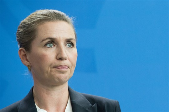 Denmark's prime minister, Mette Fredericksen, at a press briefing in Berlin, Germany.