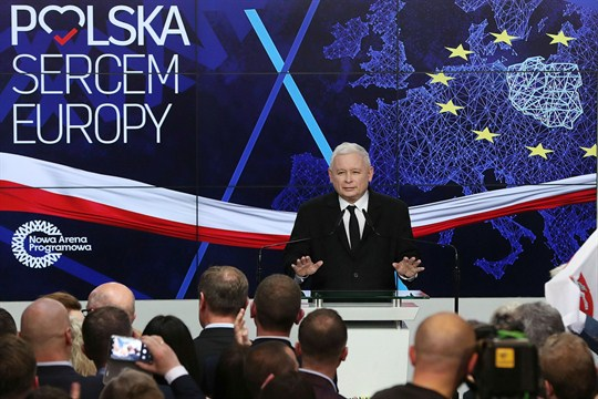 Jaroslaw Kaczynski addresses PiS party members in Warsaw, Poland after the European Parliament elections were announced.